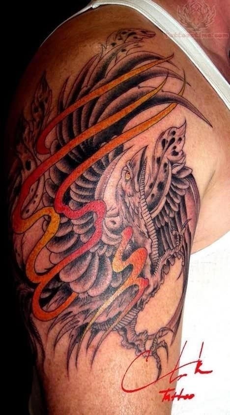 Shoulder phoenix tattoo for men