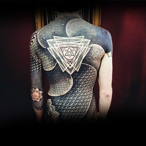 Sick geometrical triangular tattoo male full back