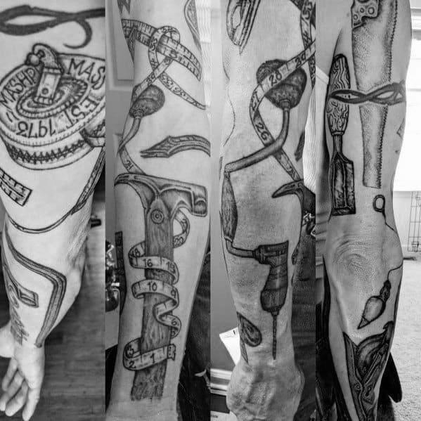 Sick guys carpenter themed tattoos