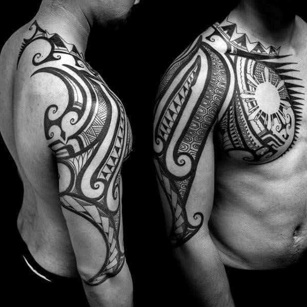 Sick sun with tribal arm male tattoo designs