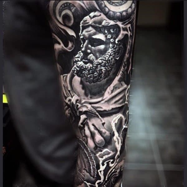 Sick tattoo Greek God full sleeves for men