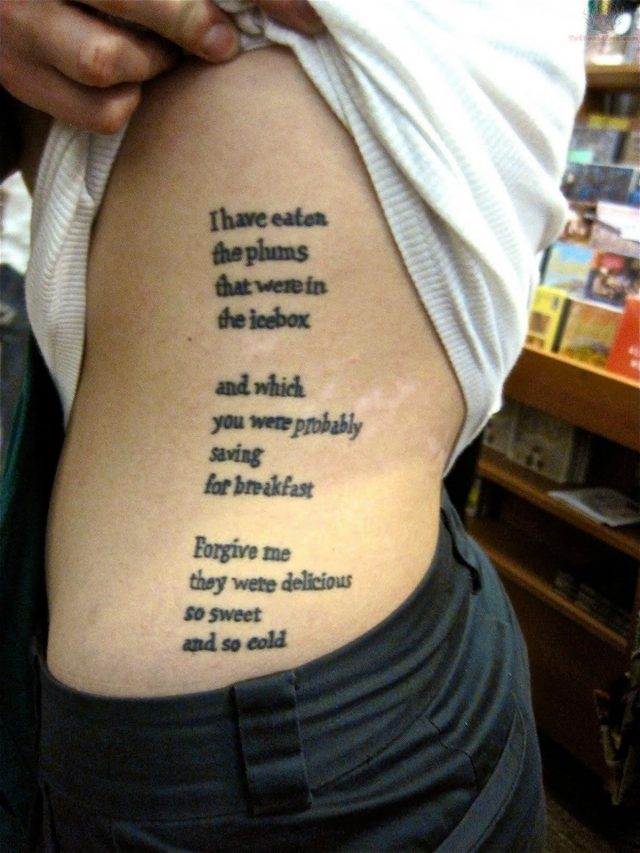 Side rib literary tattoos for women