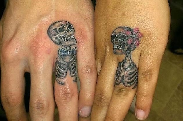 Skeleton wedding ring tattoo idea
