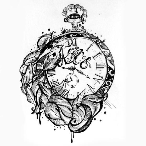 Sketch style clock