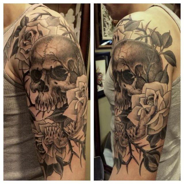 Skull butterfly art rose men tattoo