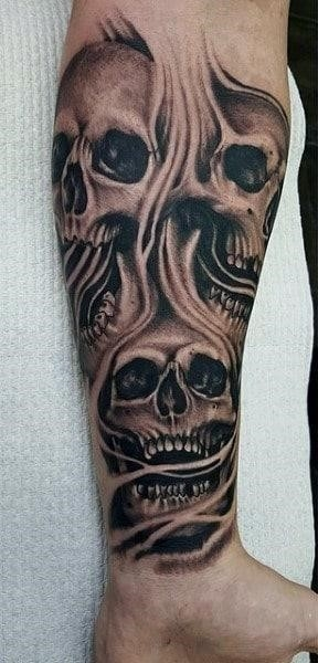Skull smoke mens tattoos on wrist