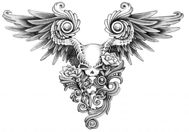 Skull tattoo drawing A7