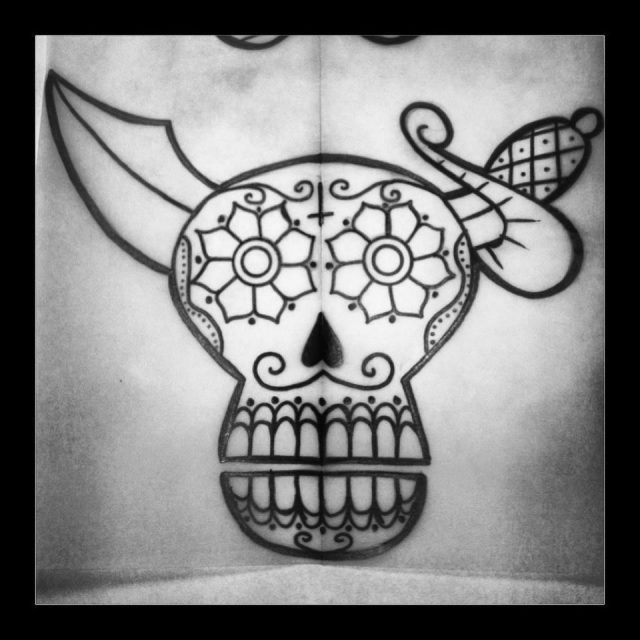 Skull tattoo flash designs 3