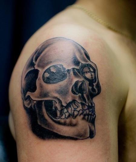 Skull tattoo shoulder men