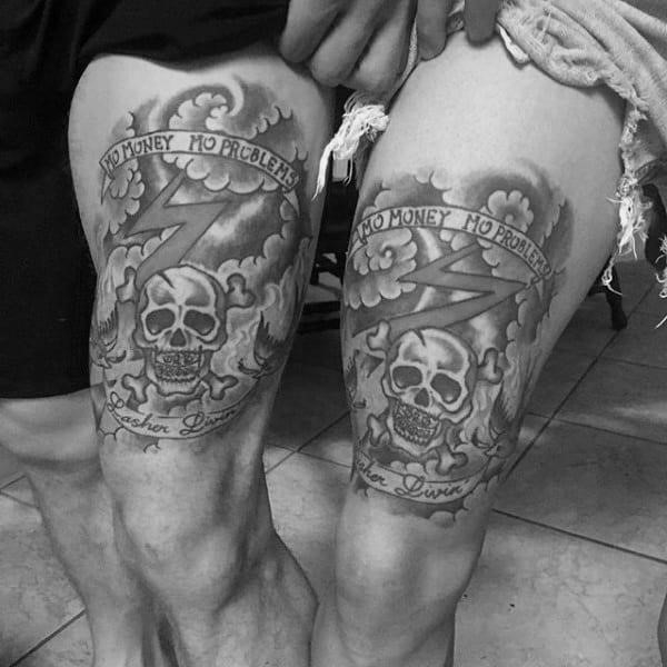 Skull with banner guys brother thigh tattoos