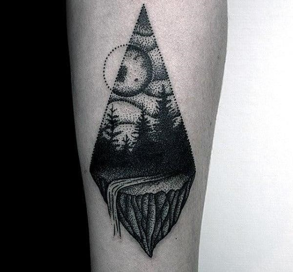 Small dotwork forest with waterfall mens forearm tattoos