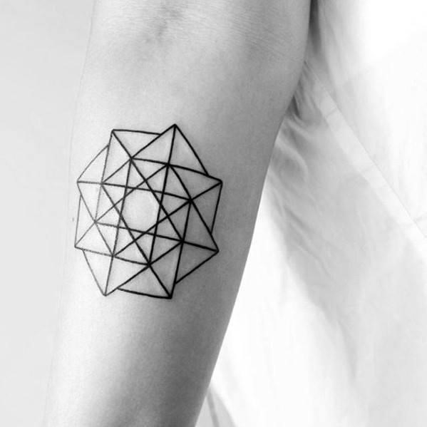 Small geometric black lines shapes forearm tattoo ideas on guys