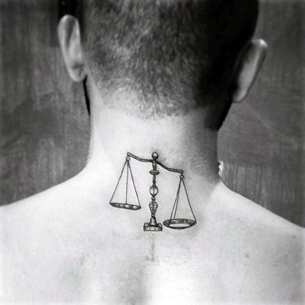 Small simple guys upper back libra scale tattoos