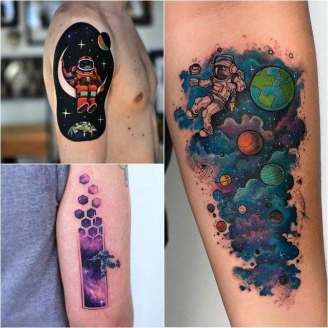 Space tattoo cosmonaut tattoo planet tattoo ideas