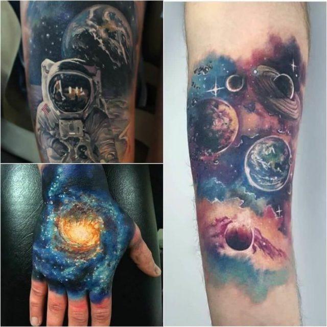 Space tattoo planet tattoo cosmonaut tattoo