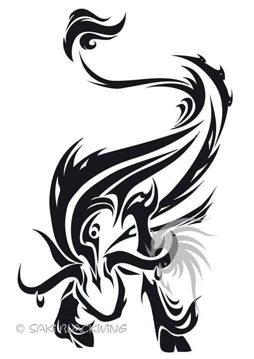 Special black tribal taurus tattoo design
