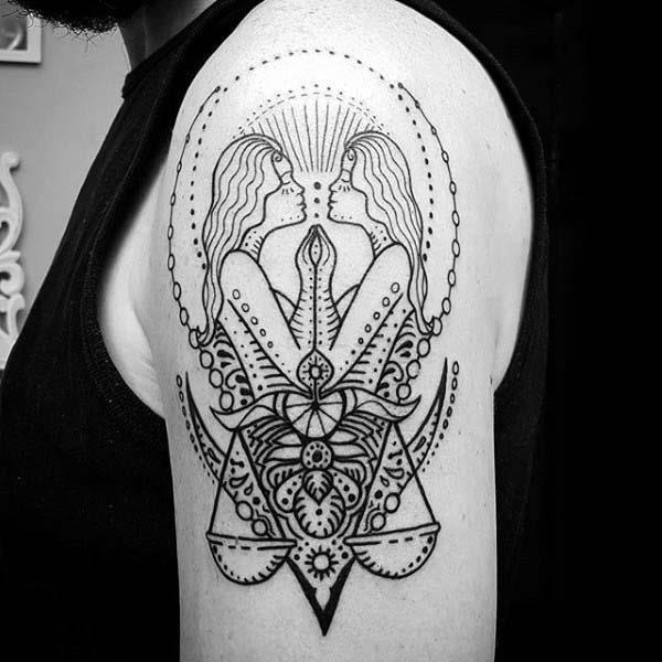 Spiritual gemini guys upper arm tattoo design ideas