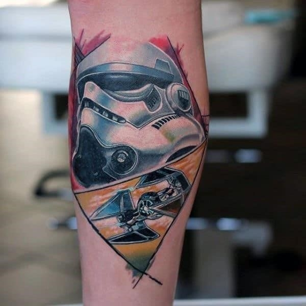 Star wars themed male stormtrooper forearm tattoo design inpsiration