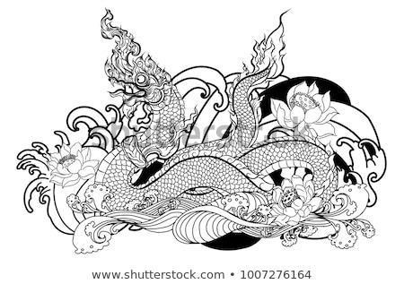 Stock vector thai traditional tattoo design the naga is king of snake and thai dragon live in himmapan forest 1007276164