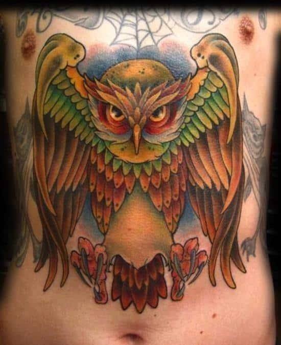 Stomach tattoo owl