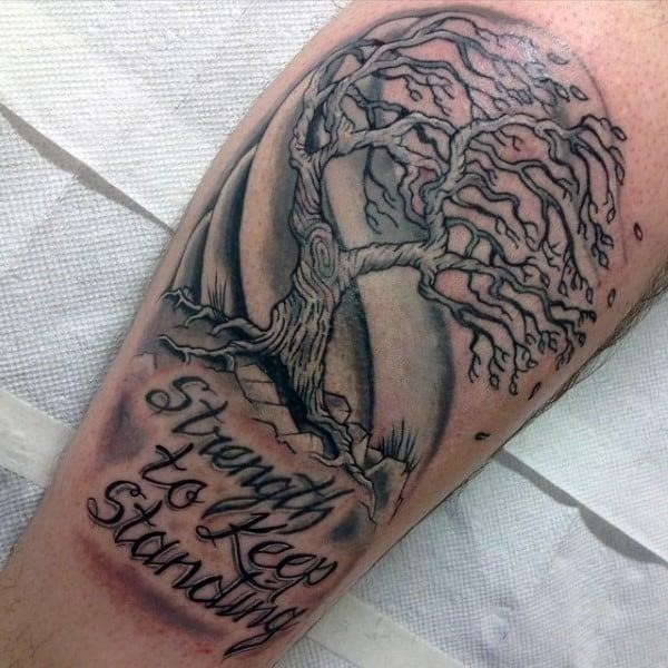 Strength to keep standing tree blowing in the wind mens tattoos