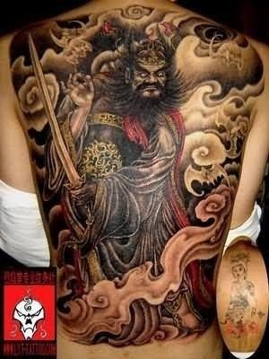 Stylish chinese tattoo on back