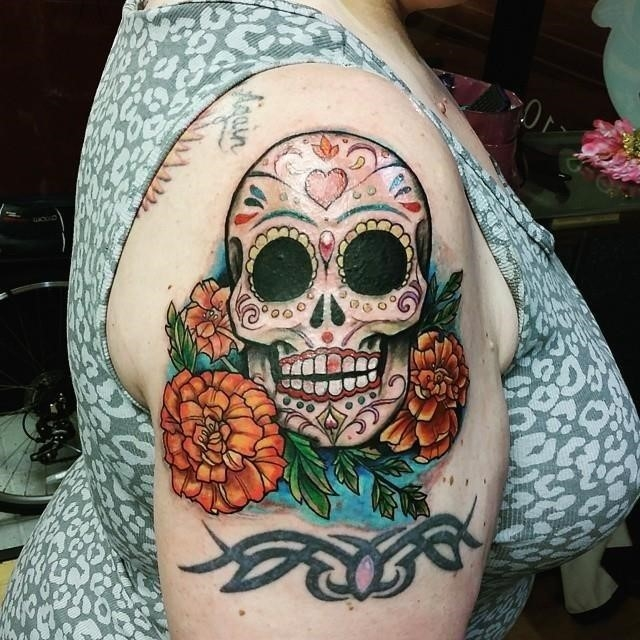 Sugar skull tattoo 14