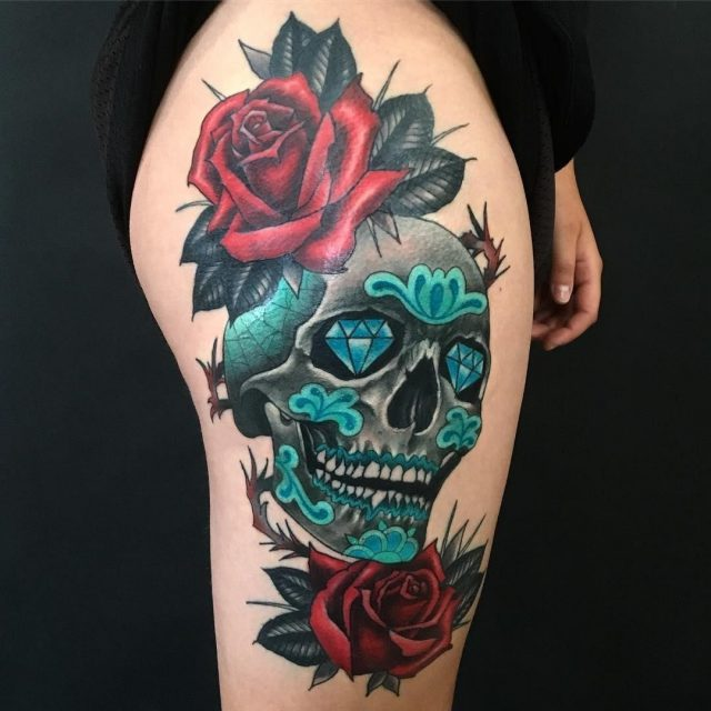 Sugar skull tattoo 5