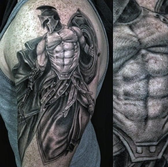 Superb warrior tattoo male biceps