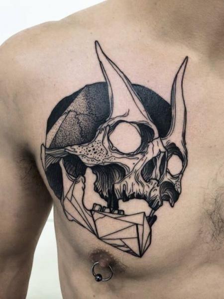 Tattoo chest skull devil