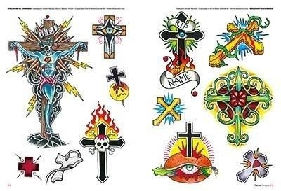 Tattoo drawing flash 2 cross colour neo traditional
