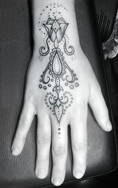 Tattoo photo hand girl flower ornamental