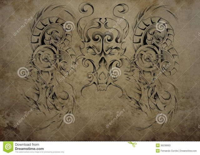 Tattoo skull over vintage paper black tribal tattoos 36238993