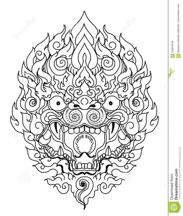 Thai demon mask line thai style hand drawn doodle art monkey mask tattoo thai dragon isolate vector line thai thailand 120819759