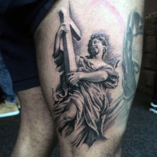 Thigh leg christian tattoo designs for men