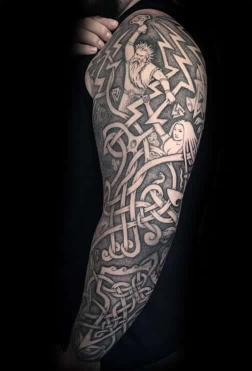 Thor hammer celtic sleeve male tattoos