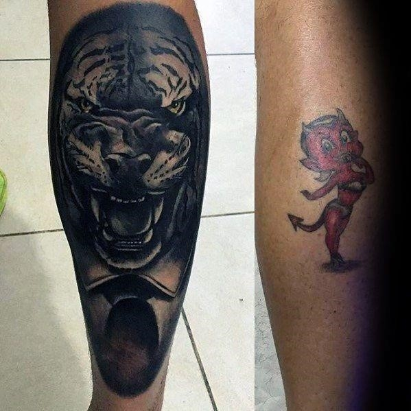 Tiger leg tattoo cover up ideas for men