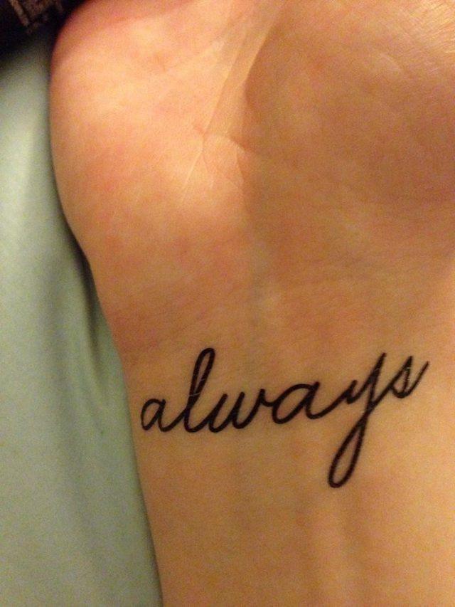 Tiny tattoo idea tattly tiny tattoo always wrist harry potter