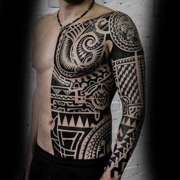 Torso sick black white tattoo for men