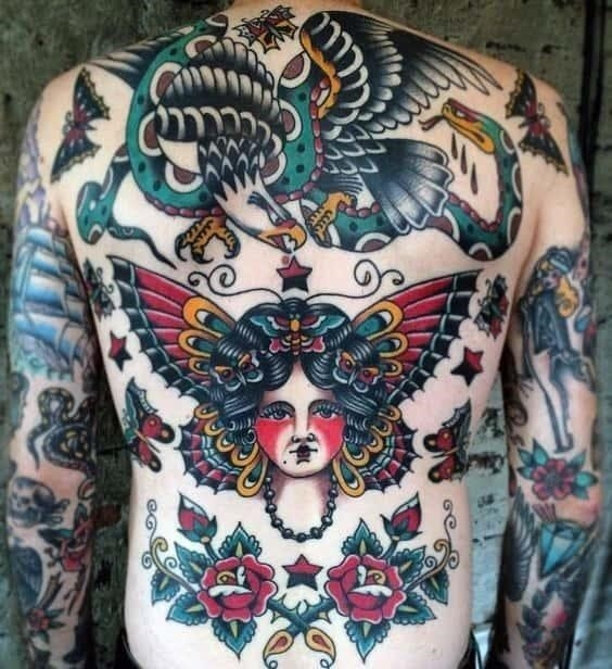 Traditional back old school mens tattoo inspiration
