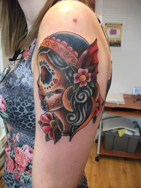 Traditional skull gypsy tattoo
