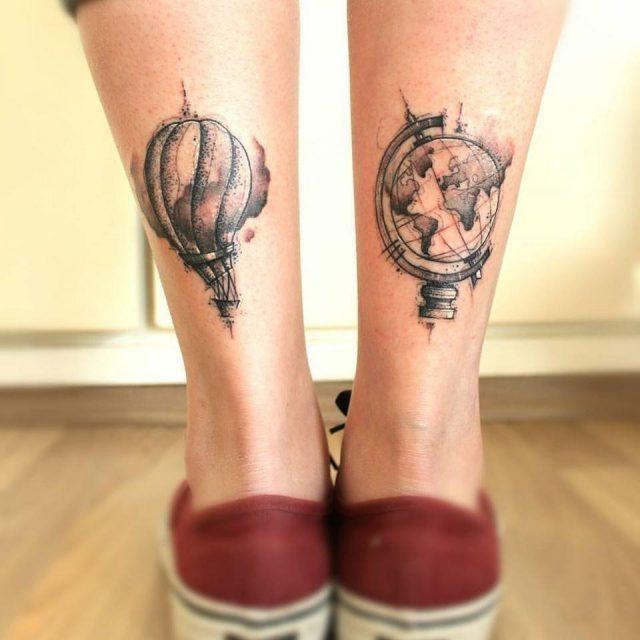 Travelling feet tattoo