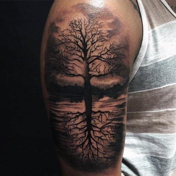 Tree of life mens realistic 3d arm tattoos