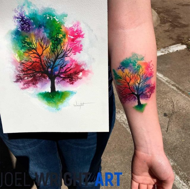 Tree of life watercolor tattoo 32
