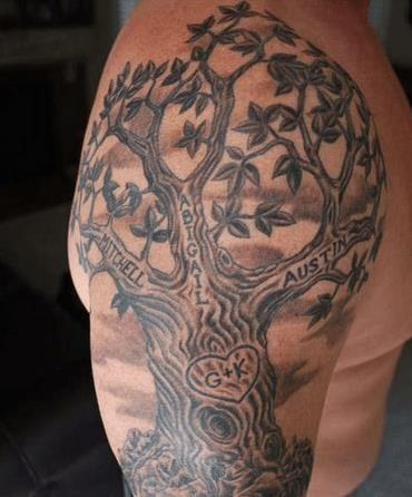 Tree with names tattoo
