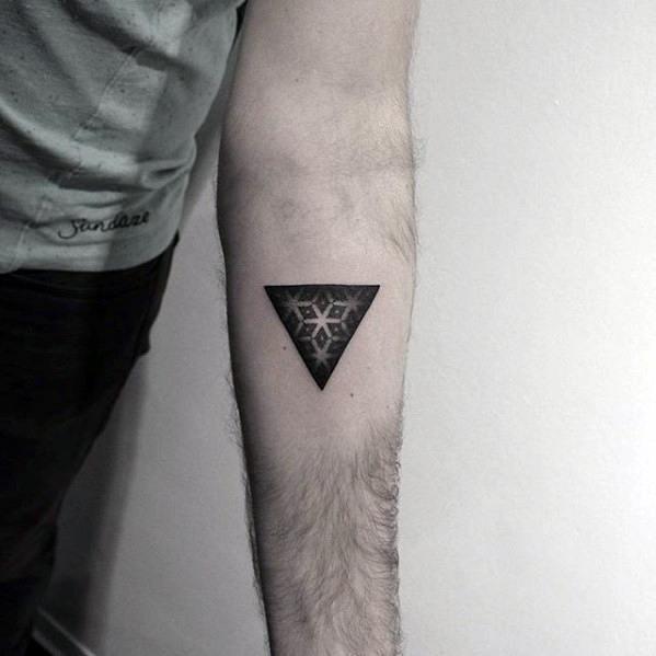 Triangle star pattern guys dotwork simple geometric tattoo on forearm