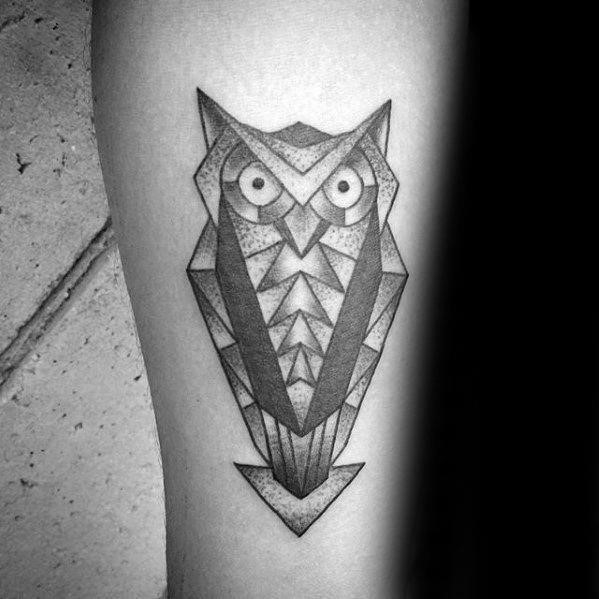 Triangles geometric owl mens inner forearm tattoo