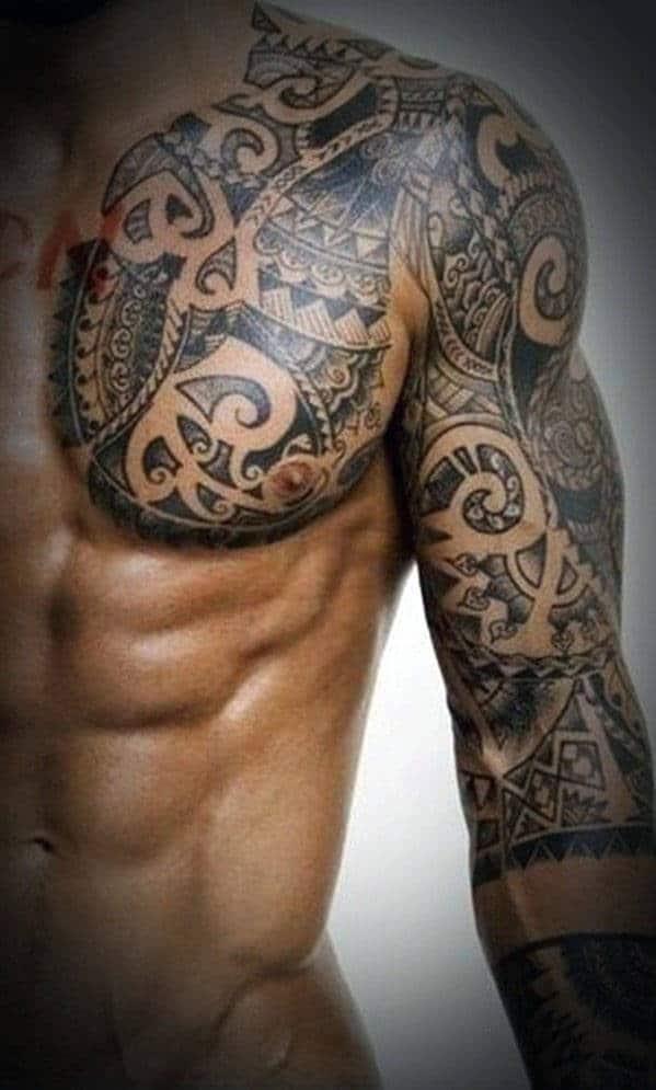 Tribal chest tattoos for men2