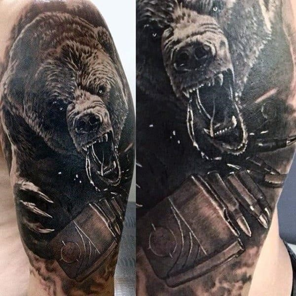 Tribal mens grizzly bear tattoos