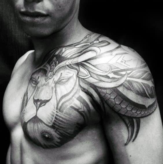 Tribal shoulder male lion tattoo designs